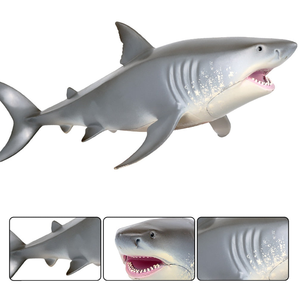 Lifelike Baby Shark Toy Anti Stress Squeeze Big Shark Collection Toy For Kid Gift (Light Grey)