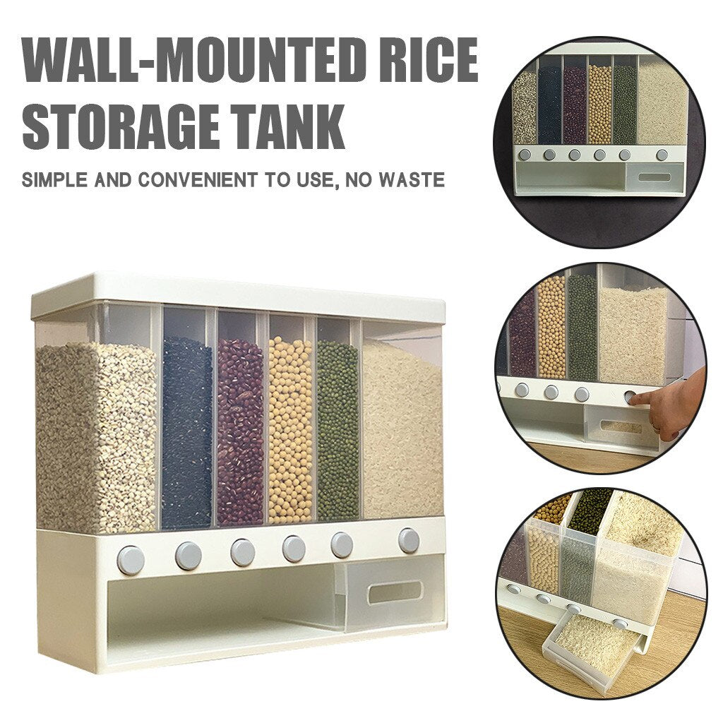 Wall Mounted Press Cereals Dispenser Dry Food Hanger Kitchen Storage Daily Selected