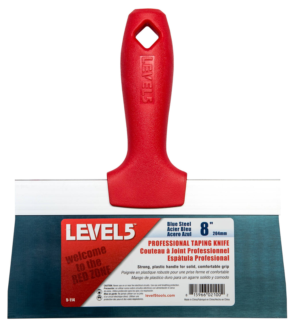 Drylining Accessory - Level5 Blue Steel Taping Knife - Red Plastic Handle