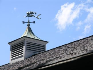 roof with weathervane