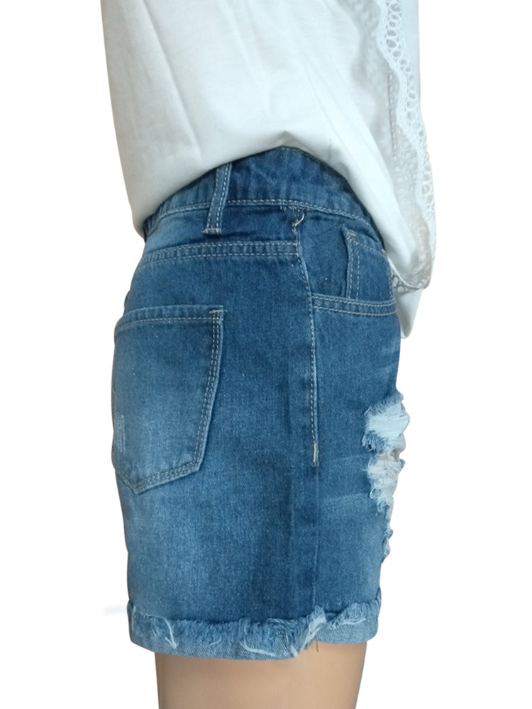 Blue Denim Ripped Casual Pants