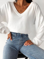 White V Neck Casual Long Sleeve Shirts & Tops
