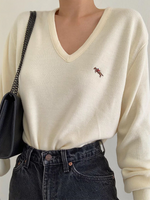 White Long Sleeve Animal Embroidered Shirts & Tops