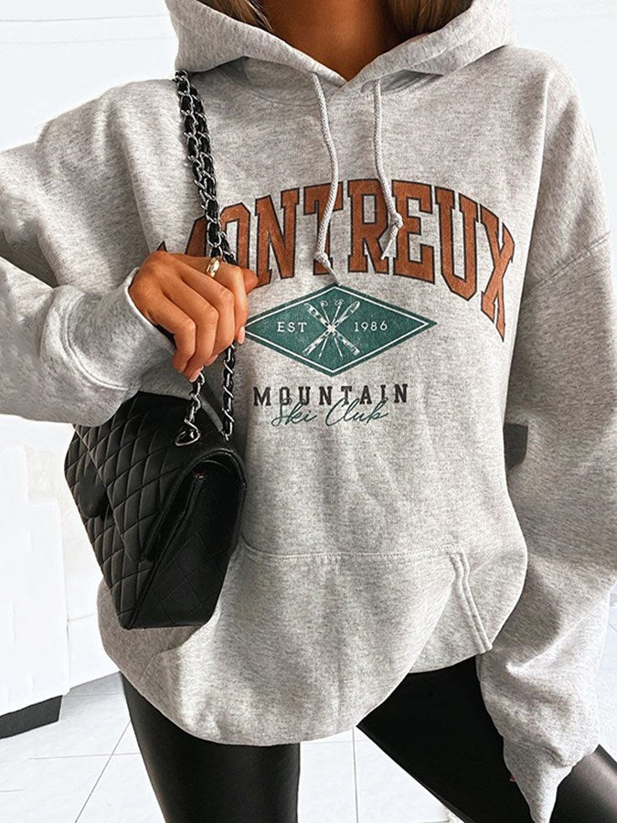 Gray Shift Long Sleeve Letter Casual Sweatshirt