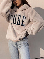 Beige Cotton-Blend Casual Hoodie Sweatshirt