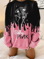 Women's Pink Printed Casual Abstract Shift Sweatshirt