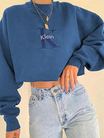 Blue Casual Crew Neck Letter Shift Sweatshirt