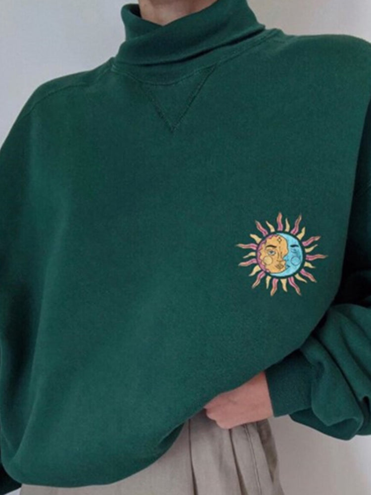 Green Casual Shift Embroidered Turtleneck Sweatshirt