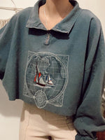 As Picture Geometric Casual Shawl Collar Zipper Sweatshirt