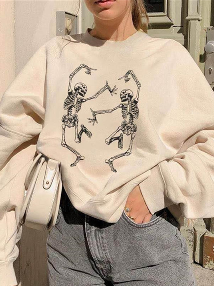 White Casual Crew Neck Abstract Shift Sweatshirt