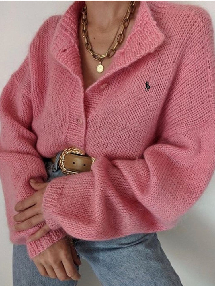 Pink Knitted Sweet Shift Long Sleeve Sweater