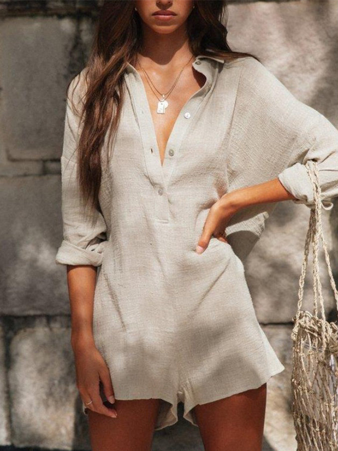 Gray Sexy V Neck One-Pieces