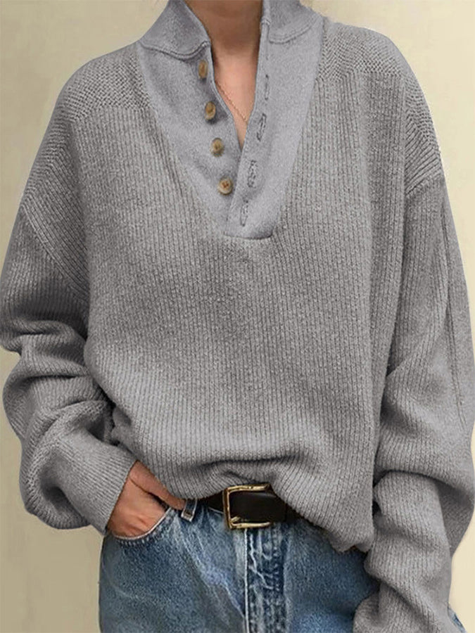 Loose Casual Stand Collar Long Sleeve Sweater