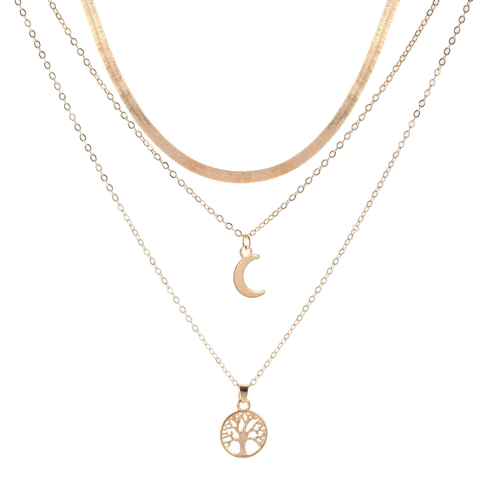 Geometric Moon Pendant Necklace