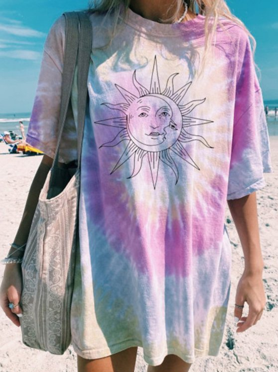 Tie-Dye Short Sleeve Holiday T-Shirts & Tops