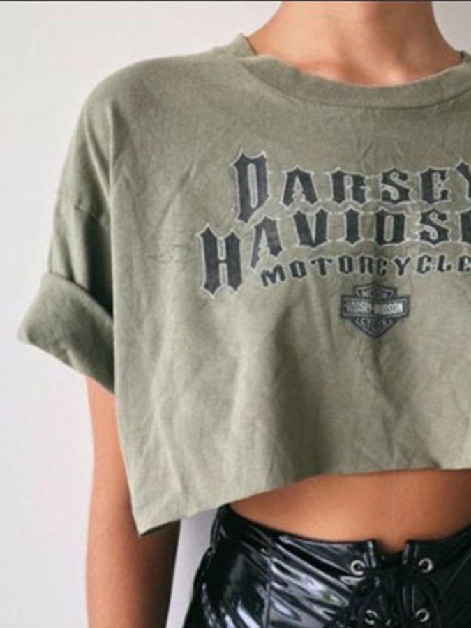 Harley Davidson Army Green Crew Neck Letter Short Sleeve Cotton Crop Top