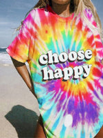 Multicolor Cotton Ombre/tie-Dye Half Sleeve Shirts & Tops