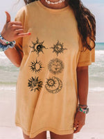 Yellow Moon & Sun Cotton Short Sleeve Shirts & Tops
