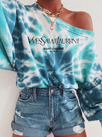 Printed Gradient Casual Long Sleeve Top