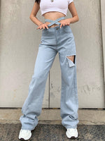 Blue Denim Casual Pants