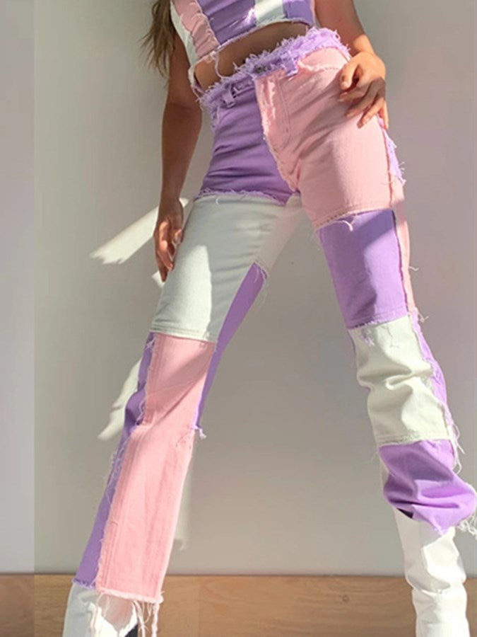 Purple Shift Paneled Denim Casual Pants