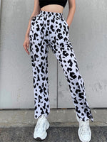 Sheath Short Sleeve Leopard Print Pants
