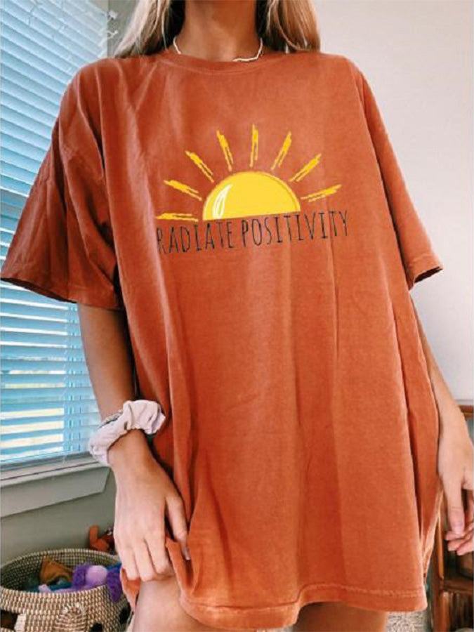 Orange Cotton Crew Neck Casual Shift Shirts & Tops