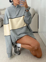 Gray Turtleneck Shift Long Sleeve Zipper Sweatshirt