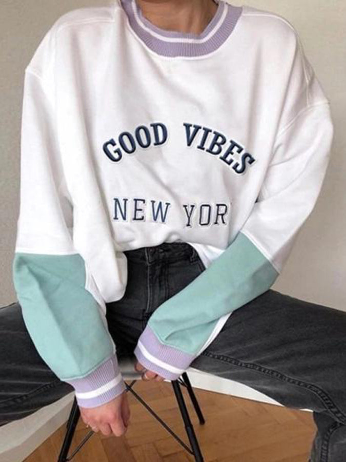 As Picture Printed Letter Long Sleeve Sweatshirt