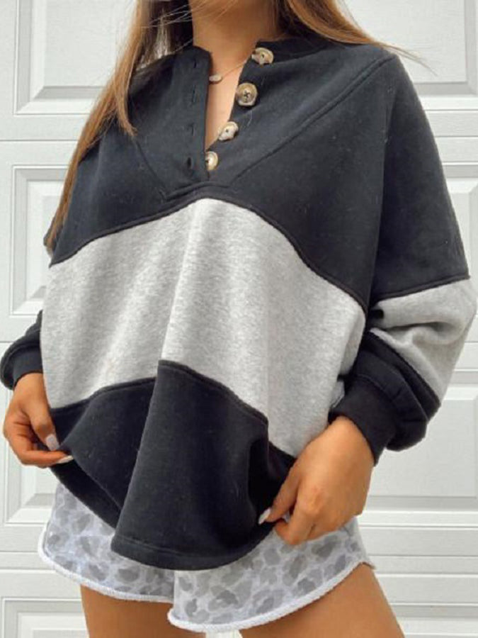 Black Long Sleeve Solid Color-Block Crew Neck Sweatshirt