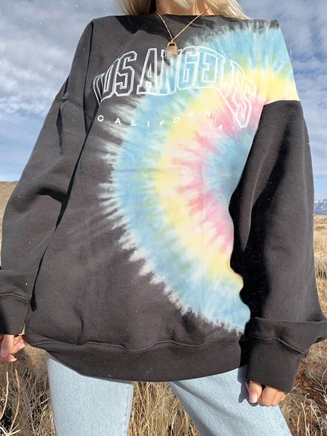 As Picture Cotton Long Sleeve Ombre/tie-Dye Sweatshirt