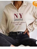 White Turtleneck Letter Shift Casual Sweatshirt