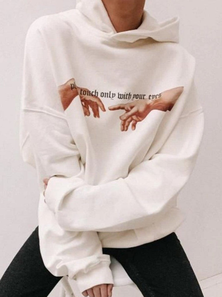 White Letter Hoodie Long Sleeve Shift Shirts & Tops