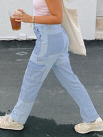 Light Blue Vintage Plain Shift Pants