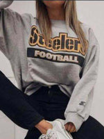 As Picture Long Sleeve Crew Neck Casual Sweatshirt