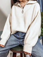 Knitted Casual Lapel Sweatshirt