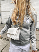 Gray Floral-Print Casual Crew Neck Shift Sweatshirt