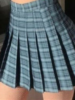 Blue Checkered/plaid Casual Pleated Skirts