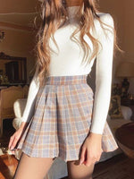 0895-Kaki A-Line Checkered/plaid Pleated Casual Skirts