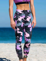 Purple Printed Abstract Sport Stretchy Yoga pants
