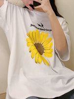 Daisy Crew Neck Shift Cotton Short Sleeve Shirts & Tops