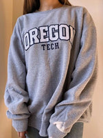 Gray Crew Neck Letter Long Sleeve Sweatshirt
