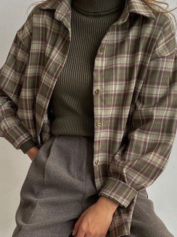Brown Casual Shirt Collar Checkered/plaid Shirts & Tops