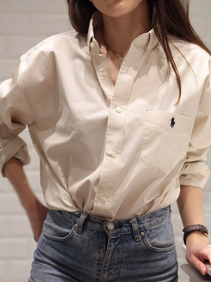 White Long Sleeve Crew Neck Embroidered Shirts & Tops