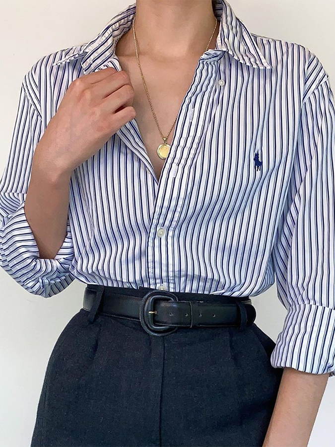 Blue Stripes Long Sleeve Shirt Collar Casual Shirts & Tops