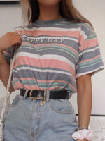 Shift Short Sleeve Striped Crew Neck Shirts & Tops
