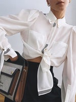 White Shirt Collar Shift Casual Long Sleeve Shirts & Tops