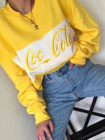 Yellow Long Sleeve Floral-Print Crew Neck Letter Sweatshirt
