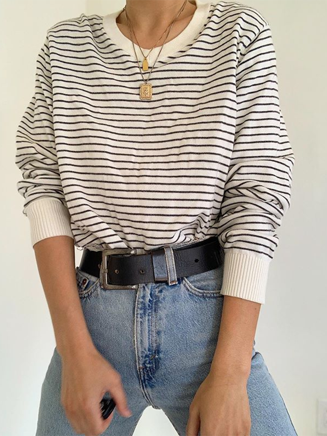 White Casual Crew Neck Printed Stripes Shirts & Tops