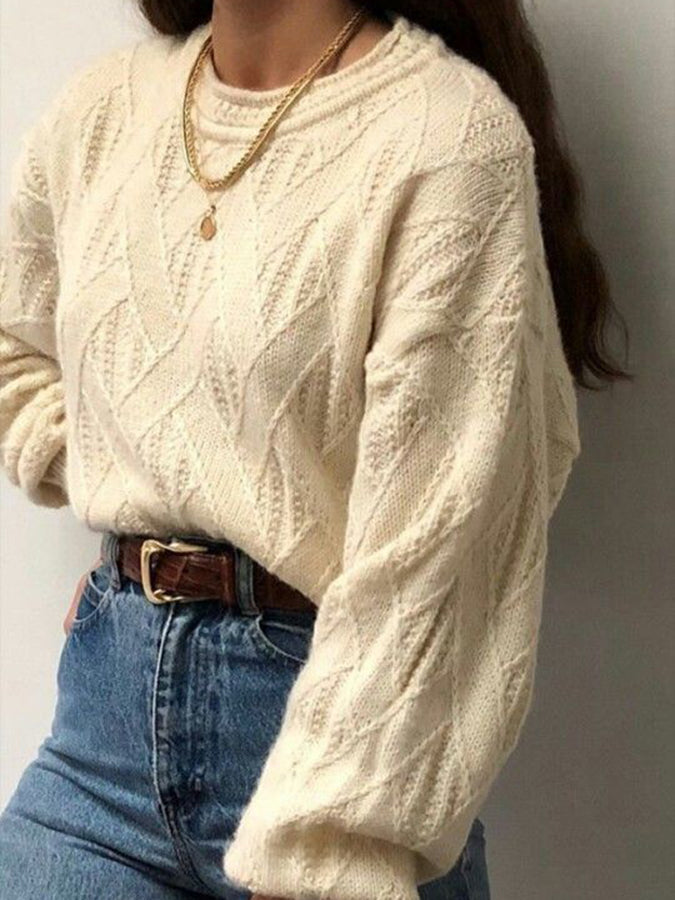 Apricot Crew Neck Long Sleeve Sweater